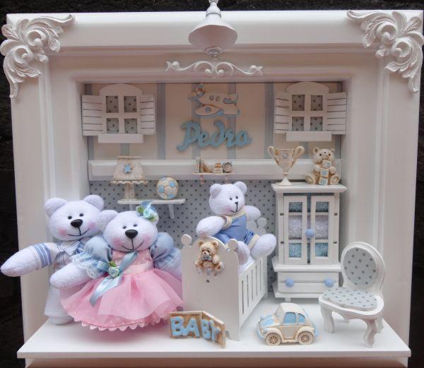 Quadro Para Quarto De Bebe Com Led ~ Quadro Maternidade Bebe Fam?lia Urso  Loja de bebefelizbylu