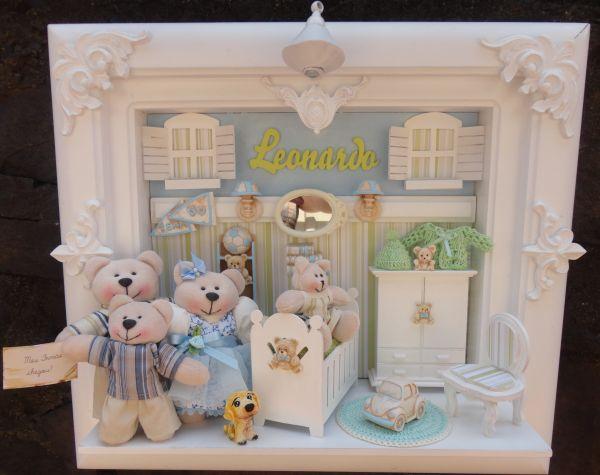 Quadro De Urso Para Quarto De Bebe ~ Quadro Maternidade Bebe Fam?lia Urso  Loja de bebefelizbylu